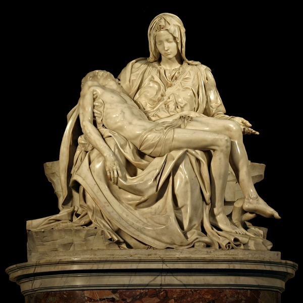 Pieta, by Michelangelo (1475-1564), St. Peter's Basilica, Rome.